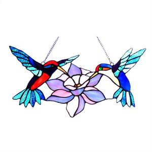 Tiffany Style Stained Glass Window Panel Hummingbirds Last One This Price