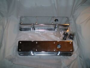 Valve Covers 2 Piece For Sbc Small Block Chevy Engines Chrome Plated Tall Height