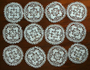 12 Antique Bobbin Cluny Lace Butterfly Coaster Doilies Or Applique 5 1 8 Round