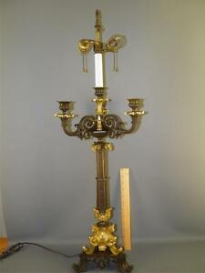 Antique French Empire Bronze Dore Candelabra Table Lamp Figural Nude Rams