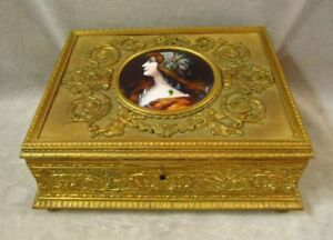 Ravishing Antique Jewelry Box French Bronze Dor Limoges Woman Enamel Portrait