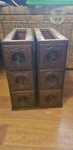 Vintage Ornate Oak Singer Treadle Sewing Machine Cabinet Drawers Frames