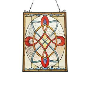 Tiffany Style Stained Glass Window Panel Colorful Floral Medallion 17 7 X 24 6