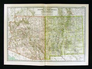 1902 Century Atlas Map Arizona New Mexico Santa Fe Taos Pheonix Tuscon Mesa