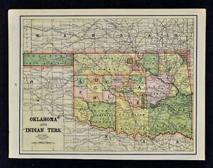 1892 Cram Map Oklahoma Indian Territory Cherokee Choctaw Osages Creek Apaches