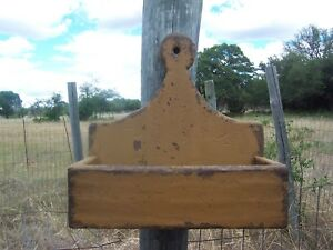 Primitive Rustic Sconce Country Shelf Wall Candle Mail Lollipop Salt Box Holder