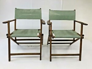 Vintage Wood Folding Chair Pair Country Wooden Patio Pool Rustic Primitive Green