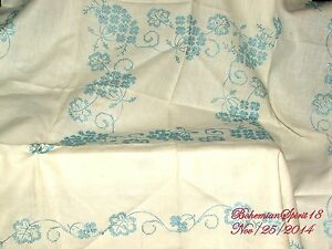 Antique English Blue Floral Off White Hand Embroidery Square Linen Tablecloth