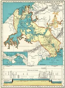 1937 Antique Panama Canal Map Vintage Maritime Canal Map Gallery Wall 6556