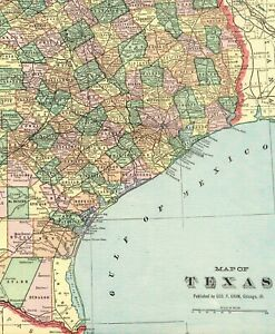 1900 Antique Texas State Map Vintage Crams Map Of Texas Gallery Wall Art 6557