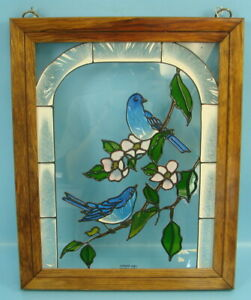Vintage Wooden Framed Bluebirds Stained Glass Window Hanging Decoration Colorful