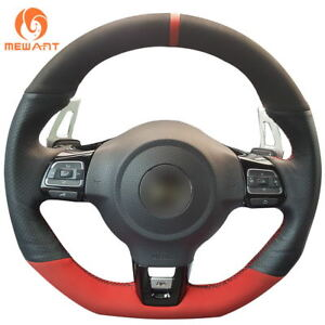 Black Red Suede Leather Steering Wheel Cover For Vw Golf 6 Gti Mk6 Vw Cc 44