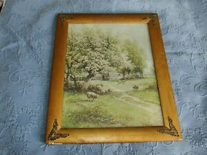 Antique Victorian Gold Picture Frame Print Of Sheep Under A Flowering Tree