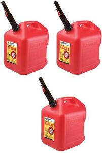 3 Ea Midwest Can Co 5610 5 Gallon Gas Cans W Flameshield Shut Off Spout