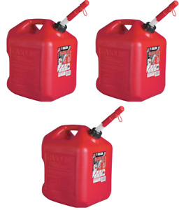 3 Ea Midwest 5600 5 Gallon Red Poly Gas Gasoline Fuel Cans W Spill Proof Spout