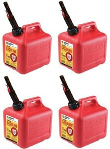 4 Ea Midwest Can Co 2310 2 Gallon Gas Cans W Flameshield Shut Off Spout