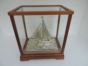 Hand Crafted Japanese Boat Pure Sterling Silver Model Ship Yacht Japan Maritime