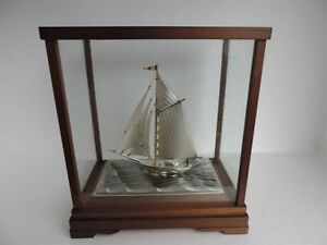 Masterly Hand Crafted Old Japanese Sterling Silver 960 Model Yacht By Seki Japan