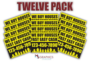 12 Pack I Buy Houses Cash Yard lawn Signs Your Number Real Estate Marketing A001