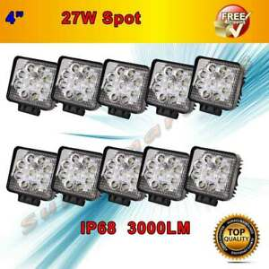 10x27w Spot 30 Square Led Work Light For Truck Ute Offroad 4wd Boat Fog Driving