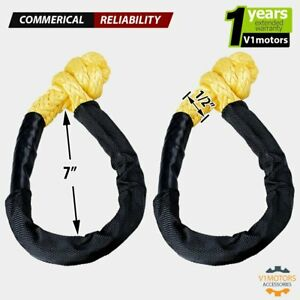1 Pair Yellow Soft Shackle Synthetic Rope 38 000 Lbs Breaking Strength 1 2
