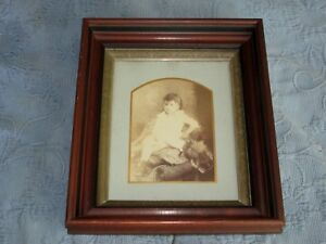 Antique Victorian Walnut Deep Well Picture Frame Photo Of A Little Girl