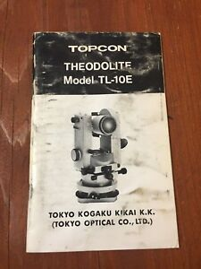 Topcon Tl 10e Theodolite Instruction Manual Surveyor