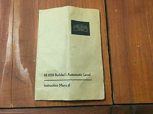 Carl Zeiss Ni 050 Builder s Automatic Level Instruction Manual Surveying