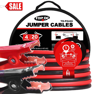Jumper Cables 4 Gauge 20 Feet Heavy Duty Booster Cables With Carry Bag
