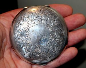 Large Old Antique 100 Year Old Ornate Sterling Silver Compact From Son To Mother