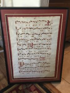Large Old Music Manuscript Gregorian Numbered Page 80