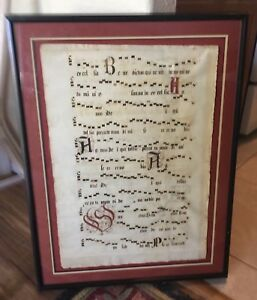 Large Old Music Manuscript Gregorian Calligraphy With Cross