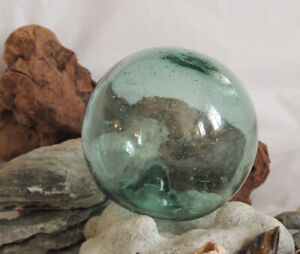Vintage 13 In Circumference Japanese Glass Fishing Float Sky Blue Bubbles 60