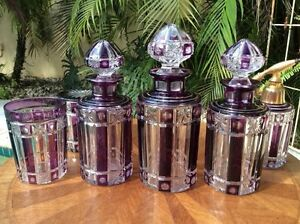 Perfume Bottles Antique French Crystal 10 Piece Perfume Dresser Set C 1920 S