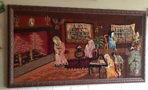 Victorian Needlepoint Paper Pictoral Folk Art Tapestry