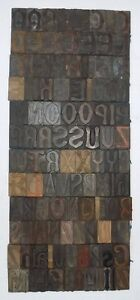 107 Piece Vintage Letterpress Wood Wooden Type Printing Blocks 67 M m bc 3016
