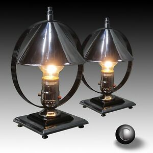 Pair 1930s Chase Era Machine Age Deco Chrome Black Accent Lamps Restored