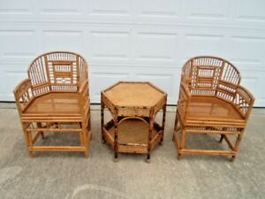 3 Pc Set 2 Vintage Mid Century Bamboo Rattan Chinese Chippendale Chairs