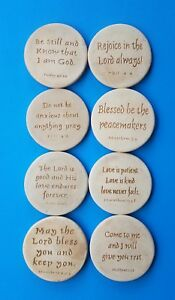 Coasters Set 8 Piece With Bible Scripture Engraved Rare Made Of Stone Vintage