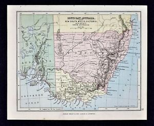 1889 Hughes Map Southeast Australia New South Wales Victoria Sydney Melbourne