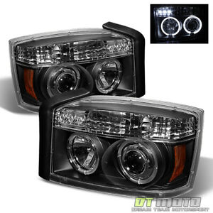 Black 2005 2007 Dodge Dakota Led Halo Projector Headlights Headlamps Left Right