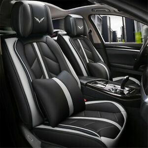 Us Universal Pu Leather Car Seat Cover 5 Seat Suv Cushions Front