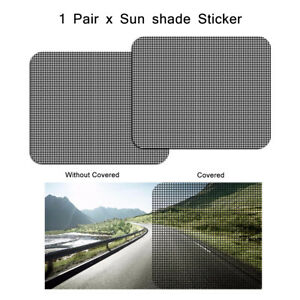 2x Car Sun Shade Sticker Uv Protection Auto Side Window Mesh Film Windshield Net