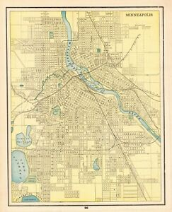 1892 Antique Minneapolis Map Vintage Original Map Of Minneapolis Minnesota 6565