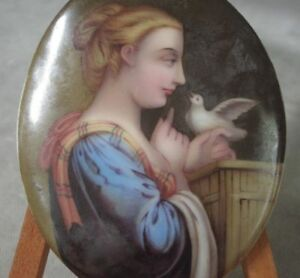 Antique Porcelain Portrait Painting Plaque Of Young Woman With Dove