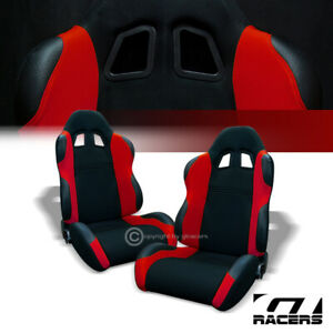 2x Universal Ts Blk Red Cloth Leather Reclinable Racing Bucket Seats Sliders G01