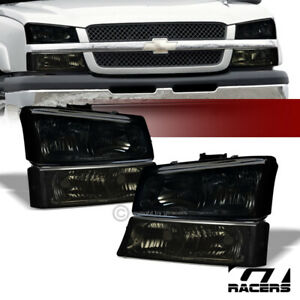 For 2003 2006 Chevy Silverado Smoke Housing Headlights W Signal Bumper Lamps Nb