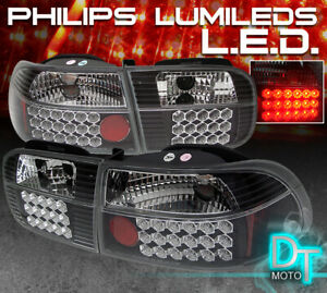 For Black 1992 1995 Honda Civic 3 Door Led Tail Lights Lamps Left Right