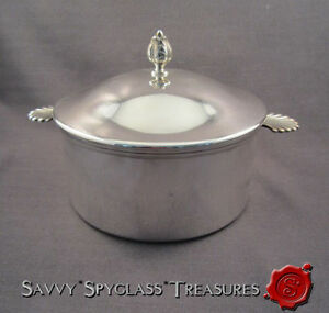 Erik R Str M Rastrom Sweden Nickel Silver Shell Fan Rose Finial Casserole Lid