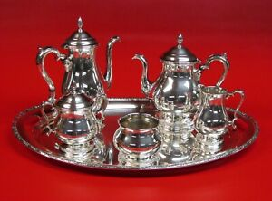 Six Piece Sterling Silver Tea Set Teapot Coffee Creamer Sugar Waste And Tray